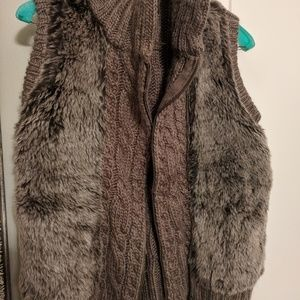 Fur and cable-knit vest